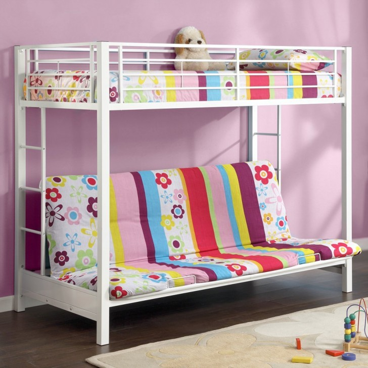 wonderful loft beds for teens with big single floral sofa and purple wall