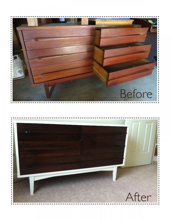 Wonderful Make Over Of Mid Century Dresser With Six Drawer