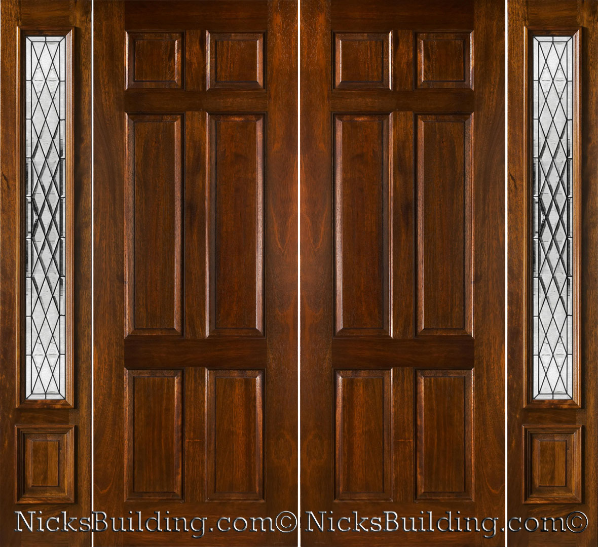 wood entry door with sidelights without handle