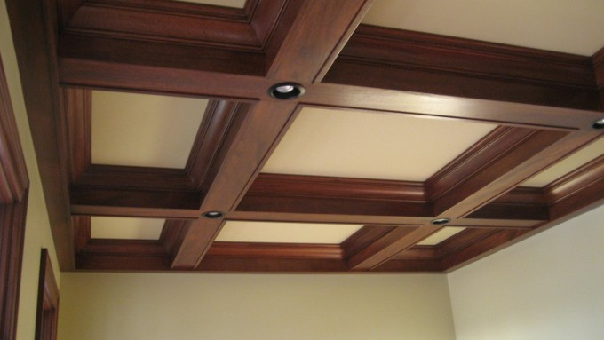 Wooden Coffered Ceiling With Lights Matched With Wheat Wall For Room Ceiling Ideas