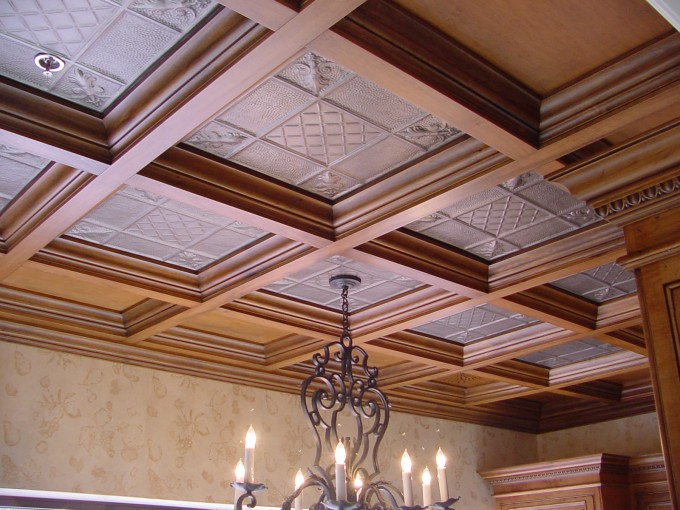 Wooden Coffered Ceilings With Chandelier Matched With Cream Wall Looks Elegant
