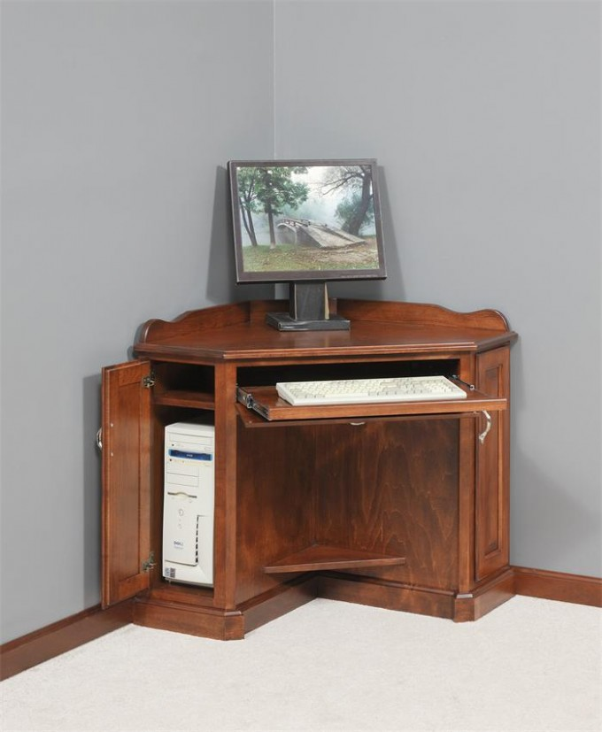 Wooden Computer Armoire For Corner Of Room With Grey Wall And Ceramic Floor