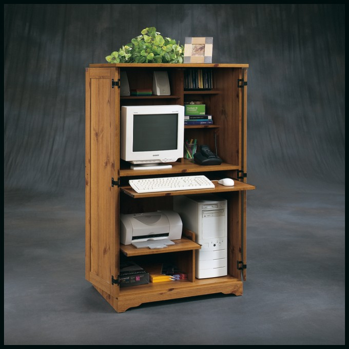 Wooden Computer Armoire For Small Room