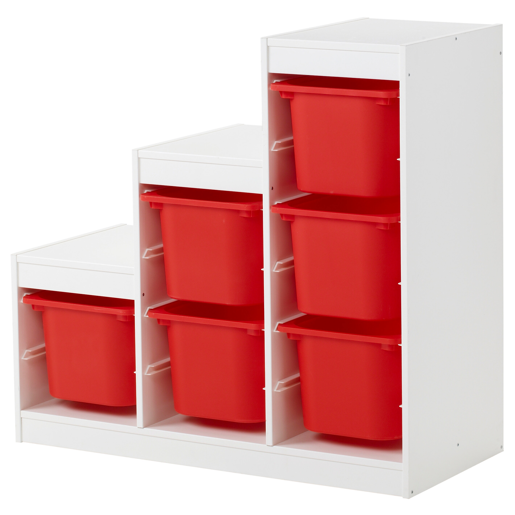 wooden ikea toy storage filled with six boxes