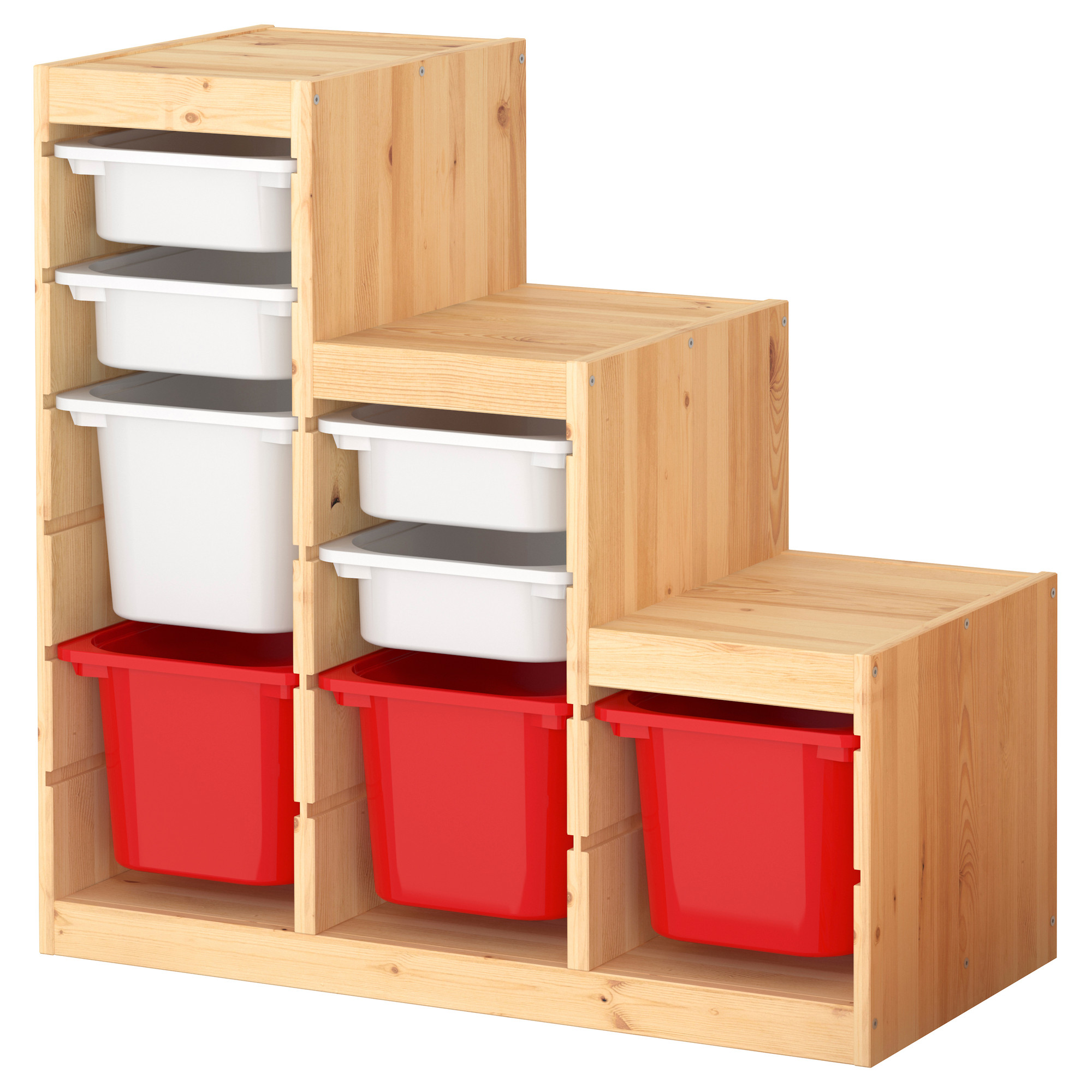 wooden ikea toy storage filled witheight boxes