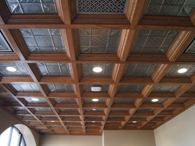 WoodGrid And Glass Coffered Ceilings With Lights For Stunning Ceiling Ideas