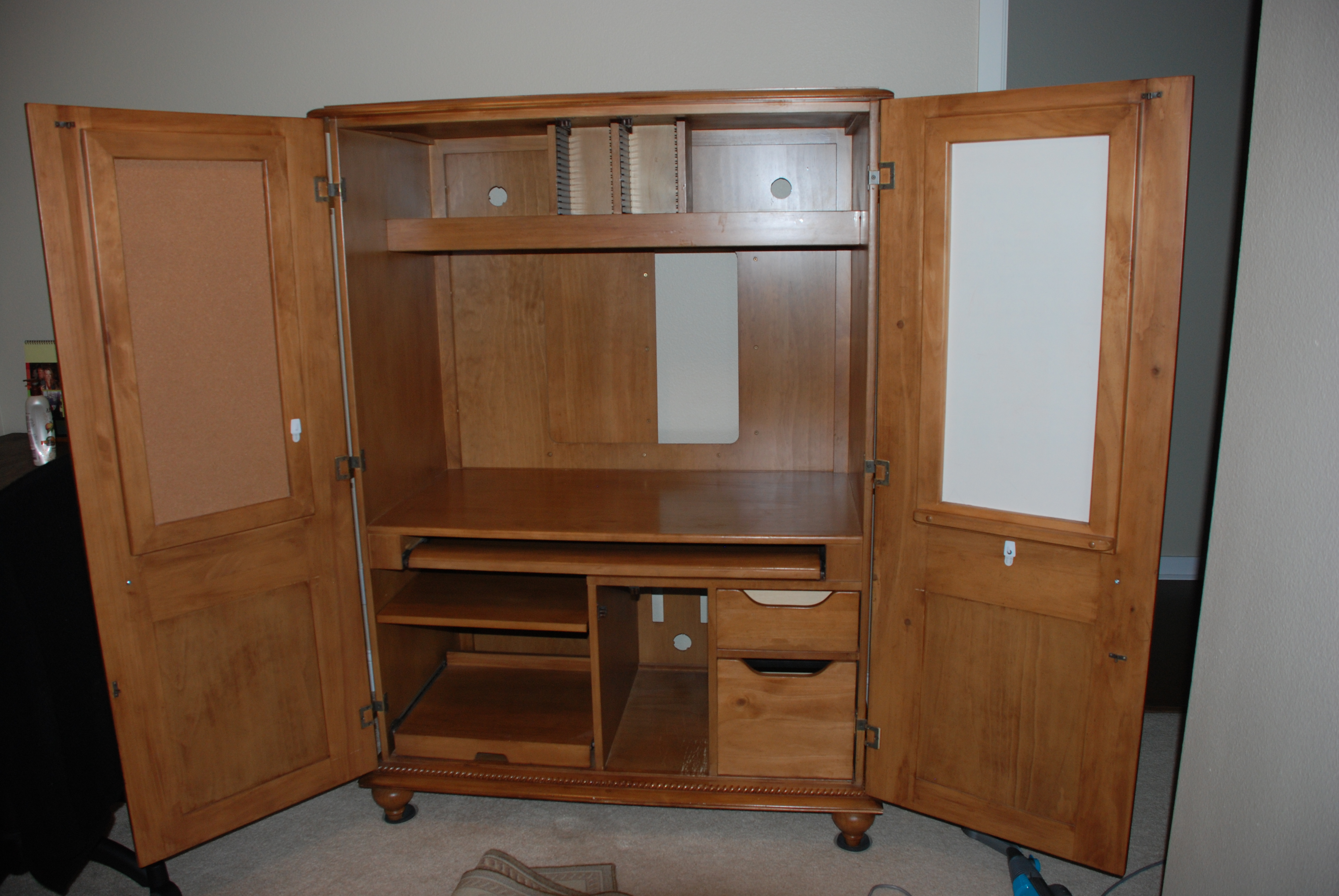 Woodwork Computer Armoire with storage and book shelfs plus mini whiteboard