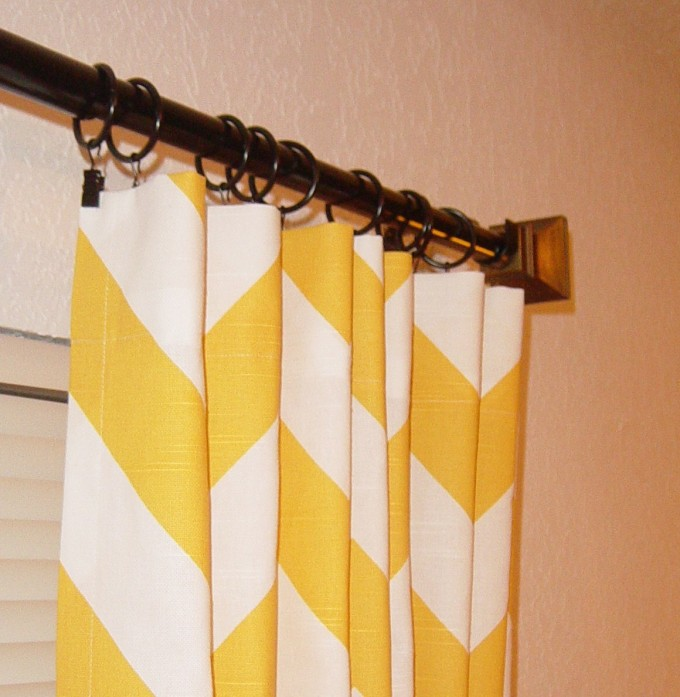 Yellows Chevron Curtains With Brown Wood Finial