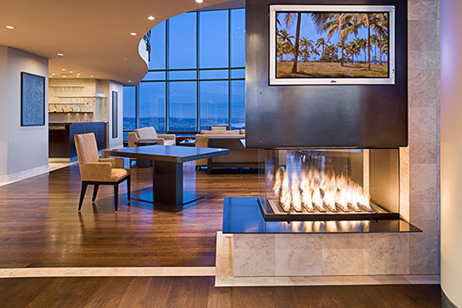 3 Sided Montigo Fireplace Under Tv With Wooden Floor Plus Sofa Set Ideas