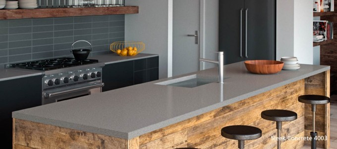 4003 Sleek Concrete Caesarstone Countertop With Sink And Faucet For Kitchen Furniture Ideas