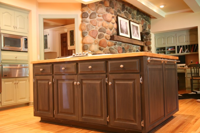 A Butcher Block Countertops With Cabinet On Wooden Floor For Kitchen Decor Ideas