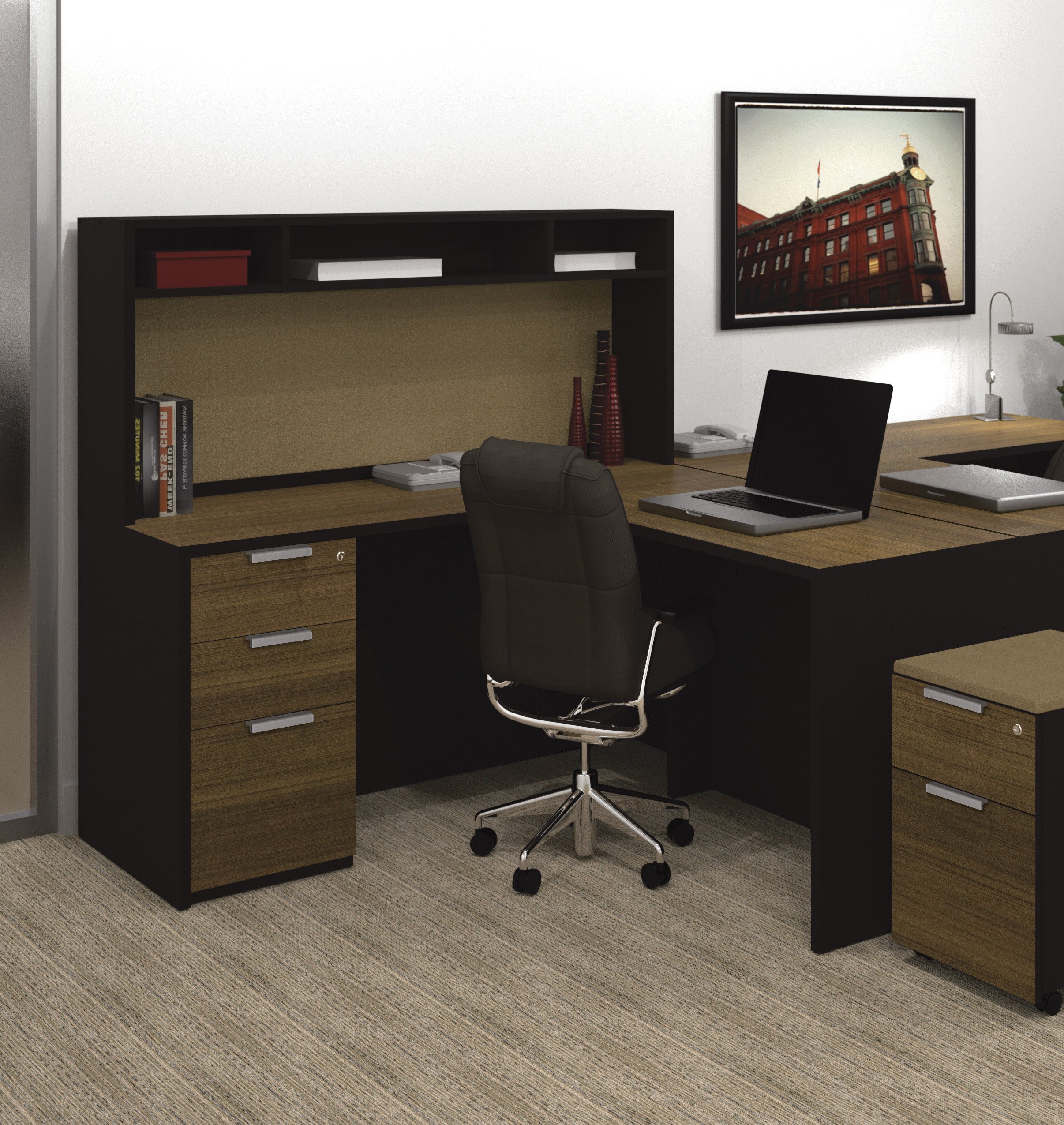 A Home Office Decoration With L Shaped Desk With Hutch And Storage Plus  Computer Set And