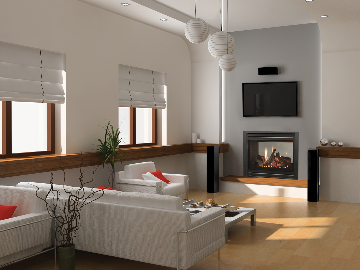 A Touch of Class montigo Fireplaces on white wall with tv plus white sofa set on wooden floor ideas