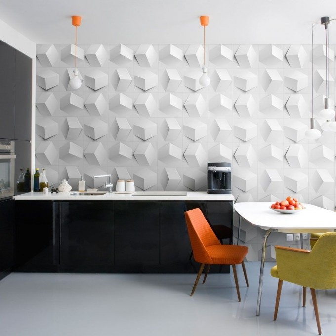 Accessories Fantastic And Modern Textured Wall Panels Decoration In White For Beautiful Room With Green And Orange Chairs And White Table