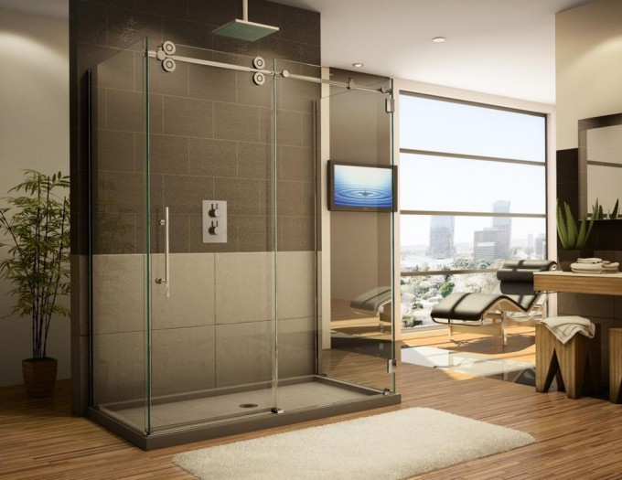 Amazing Bathroom With Frameless Shower Doors With Silver Handle Plus Wooden Floor And White Carpet Plus Tv Stand Ideas