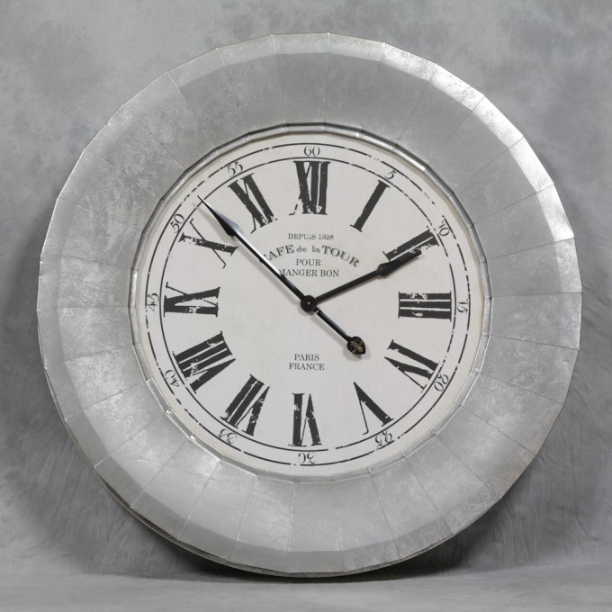 Amazing Design Of Oversized Wall Clock In Silver Nuance With Gray Roman Numeral And Black Hand