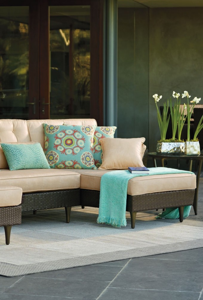 Amazing Frontgate Outdoor Furniture With White And Black Combination Sofa Plus Floral Cushions And White Carpet