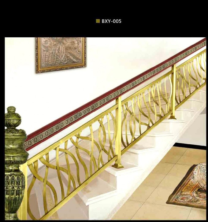 Amazing Handrails For Stairs In Gold With Curves Ornament Ideas With White Wall Ans Picture
