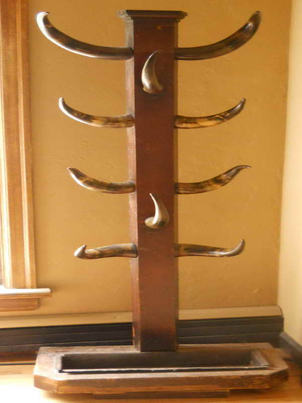 amazing standing coat rack with cow horn hooks