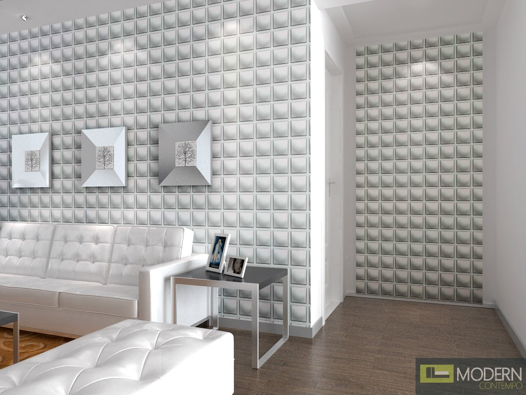 amazing textured Wall Panels in white ideas with wooden floor plus white stool