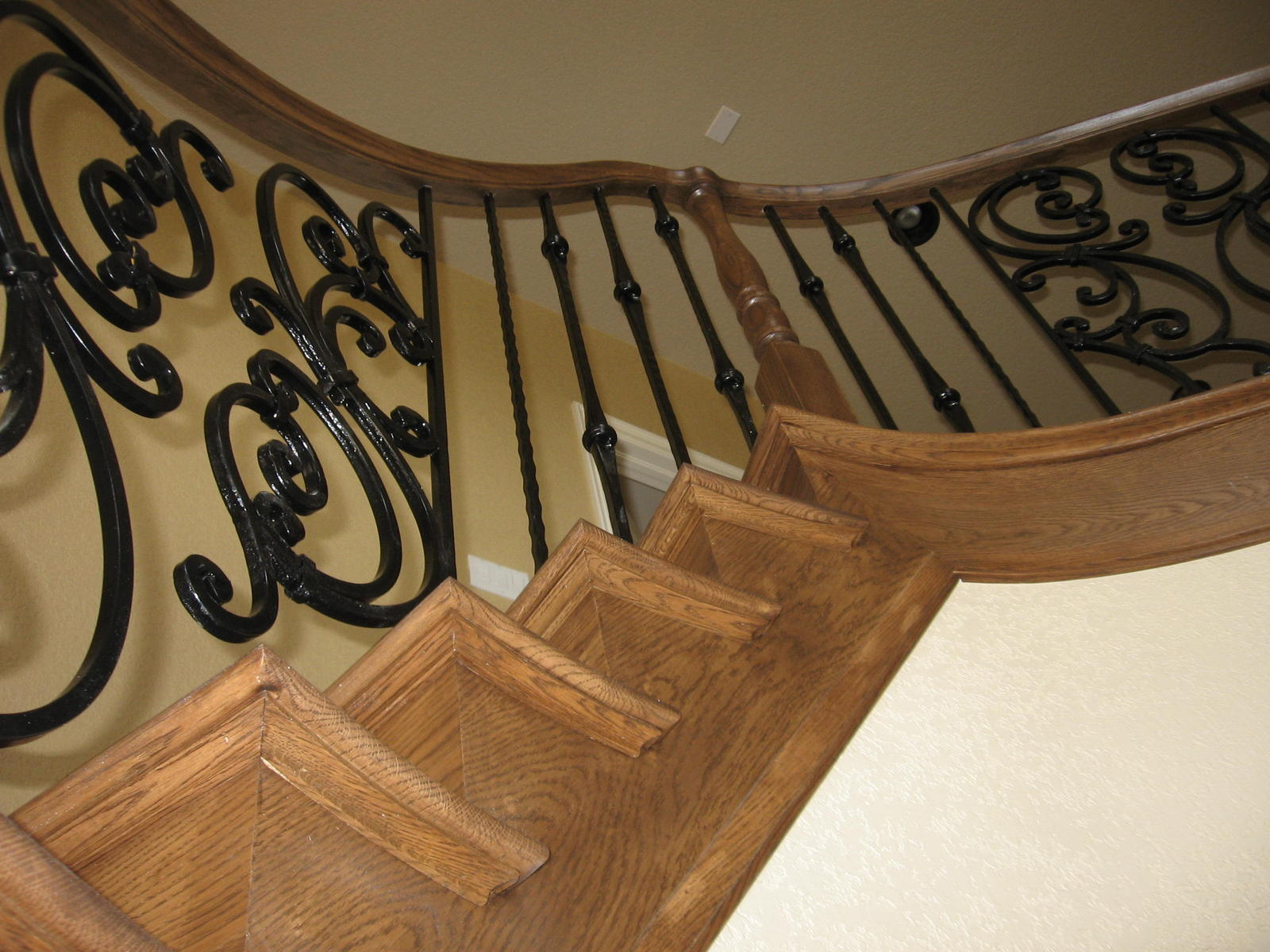 Amazing Wooden Handrails For Stairs With Curves Ideas With Yellow Wall