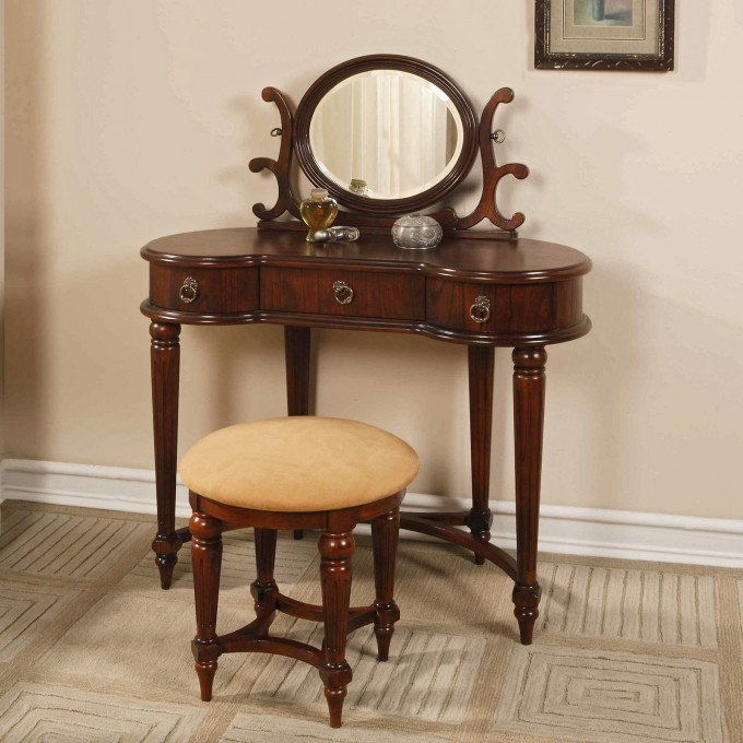 Antique And Charming Wooden Hayworth Vanity With Mirror Plus Matching Stool For Inspiring Furniture Ideas