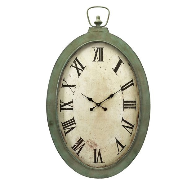 antique finish oversized wall clock in green and off white with roman numeral