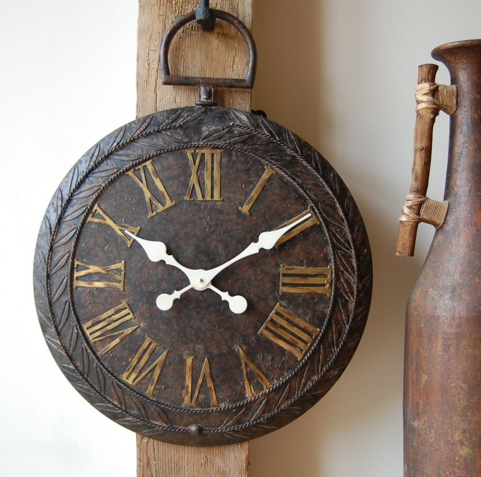 Antique Oversized Wall Clock With White Hand