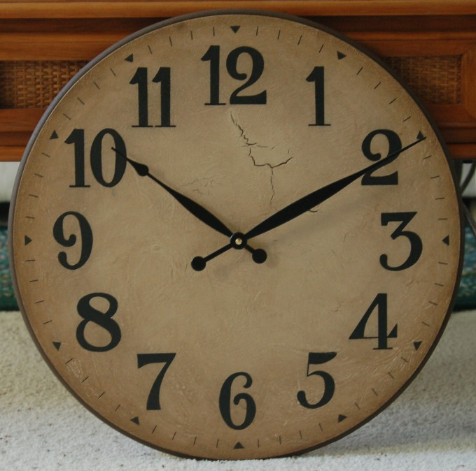 Antique Rustic Oversized Wall Clock In Tuscan