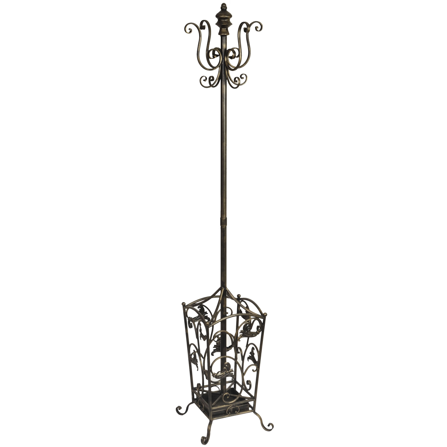 Antique Standing Coat Rack with umberella stand and floral ornament
