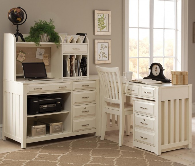 Antique White L Shaped Computer Desk Designs With Drawer And Computer Stand Plus White Chair Before The White Wall