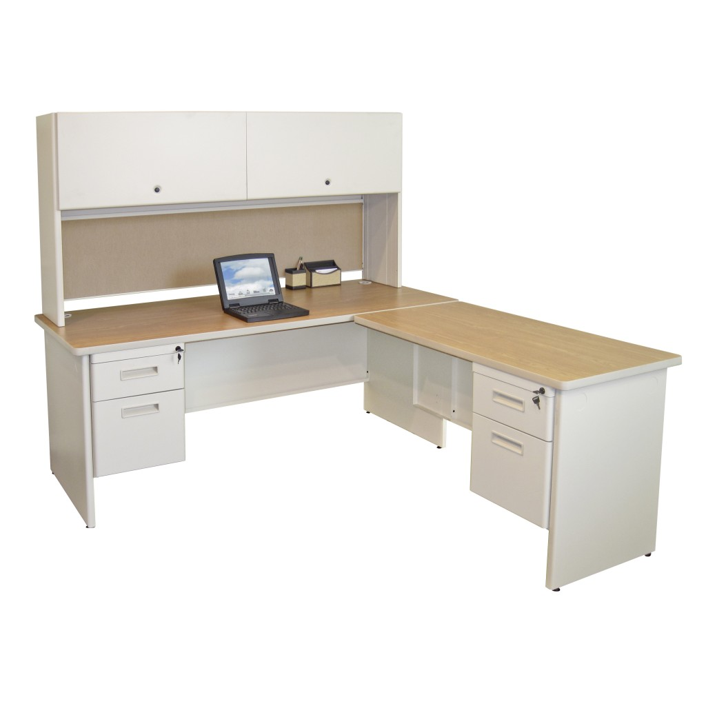 ... Home Office Furniture. Antique White L Shaped Computer Desk With Hutch  And Drawers Plus Computer Or Laptop Stand For