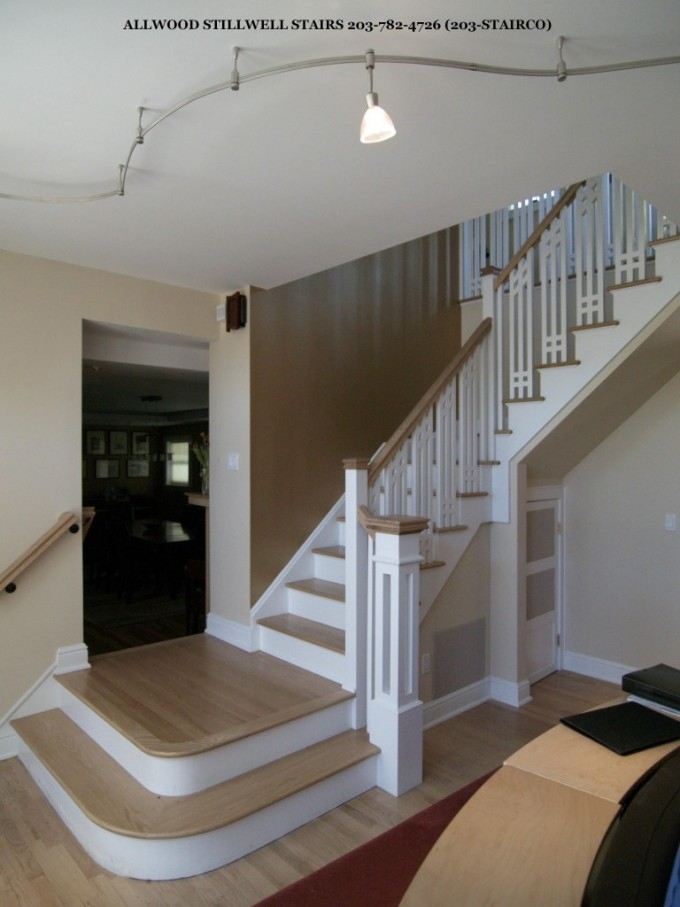 Apartment White Scheme Wooden Handrails For Stairs For Living Rooms Ideas With White Wall And Wooden Floor