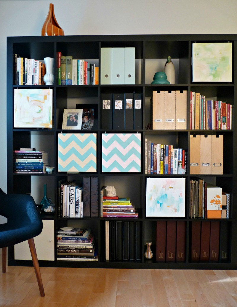 Artful ikea expedit bookcase filled with files and books ideas with blue chair plus wooden floor