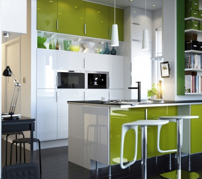 Astounding Merillat Cabinets In Green And White Plus White Chandelier And Black Floor For Kitchen Ideas
