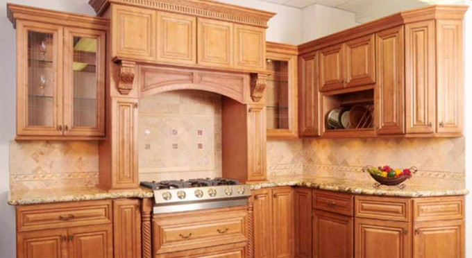 Astounding Mocca Thomasville Cabinets With Wheat Tile Back Splash Plus Stove For Kitchen Furniture Ideas