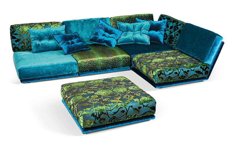 awesome Sectional Couches in colorful and floral patten with cushions for furniture ideas