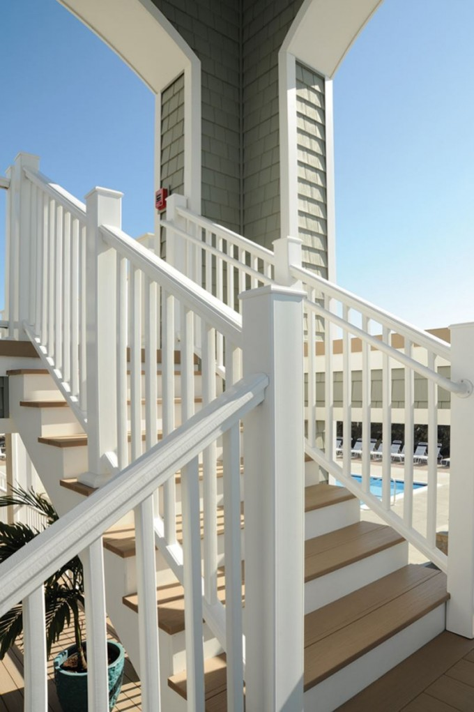 Azek Pavers Matched With White Railing And Stair For Patio Design Ideas