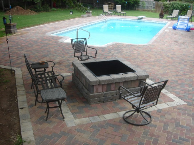 Azek Pavers Surround The Swimming Pool Plus Chairs And Heatwarming Table For Backyard Ideas