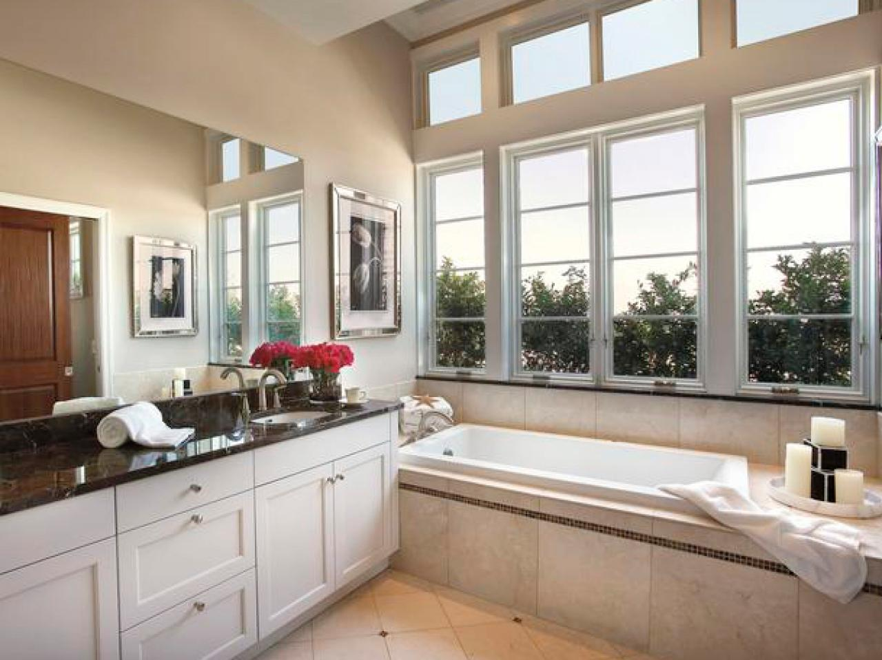 bathroom design with white pella window plus bath up and cabinet ideas