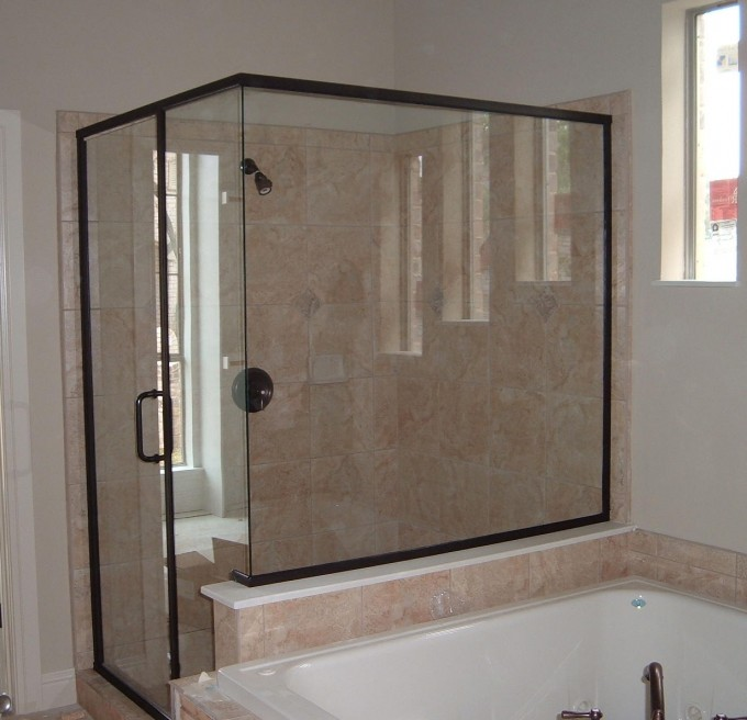 Bathroom With Semi Frameless Shower Doors With Black Handle Plus Whte Bath Up And Window