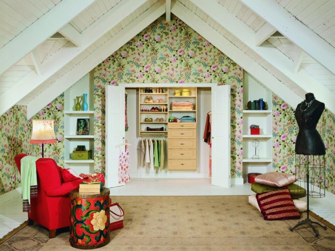 Beautiful Folding Closet Doors With Drawer And Rack Ideas On Floral Wallpaper With Sofa For Girls Room Ideas