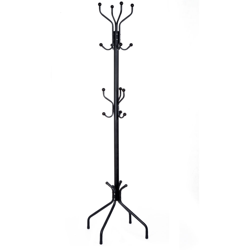 Beautiful Hook of Black Iron Ikea standing Coat Rack for living room decoration