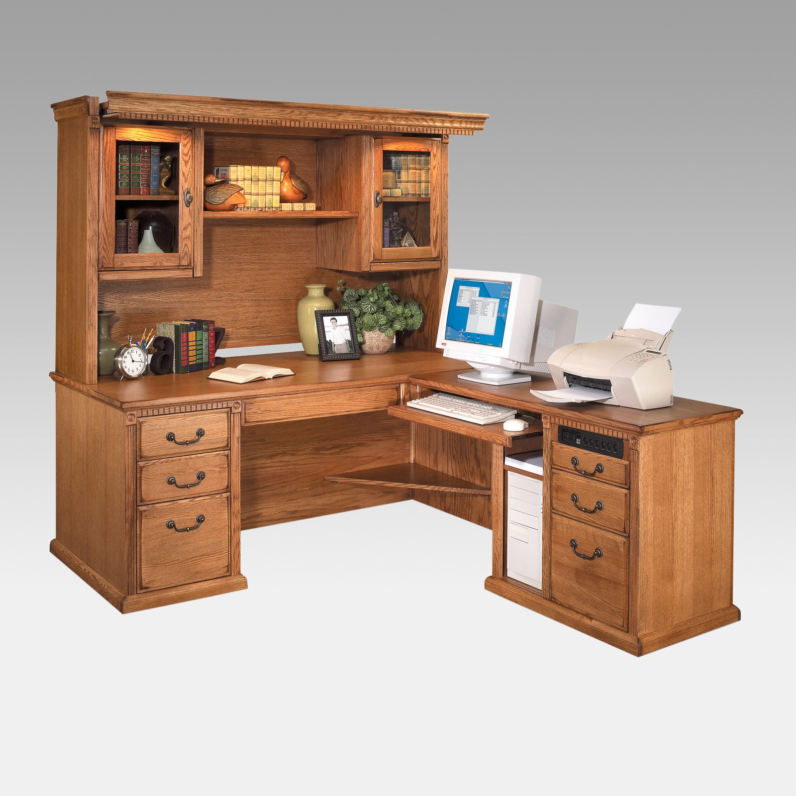 Beautiful L Shaped Desk With Hutch And Drawer Plus Computer Set For Home  Office Furniture Ideas