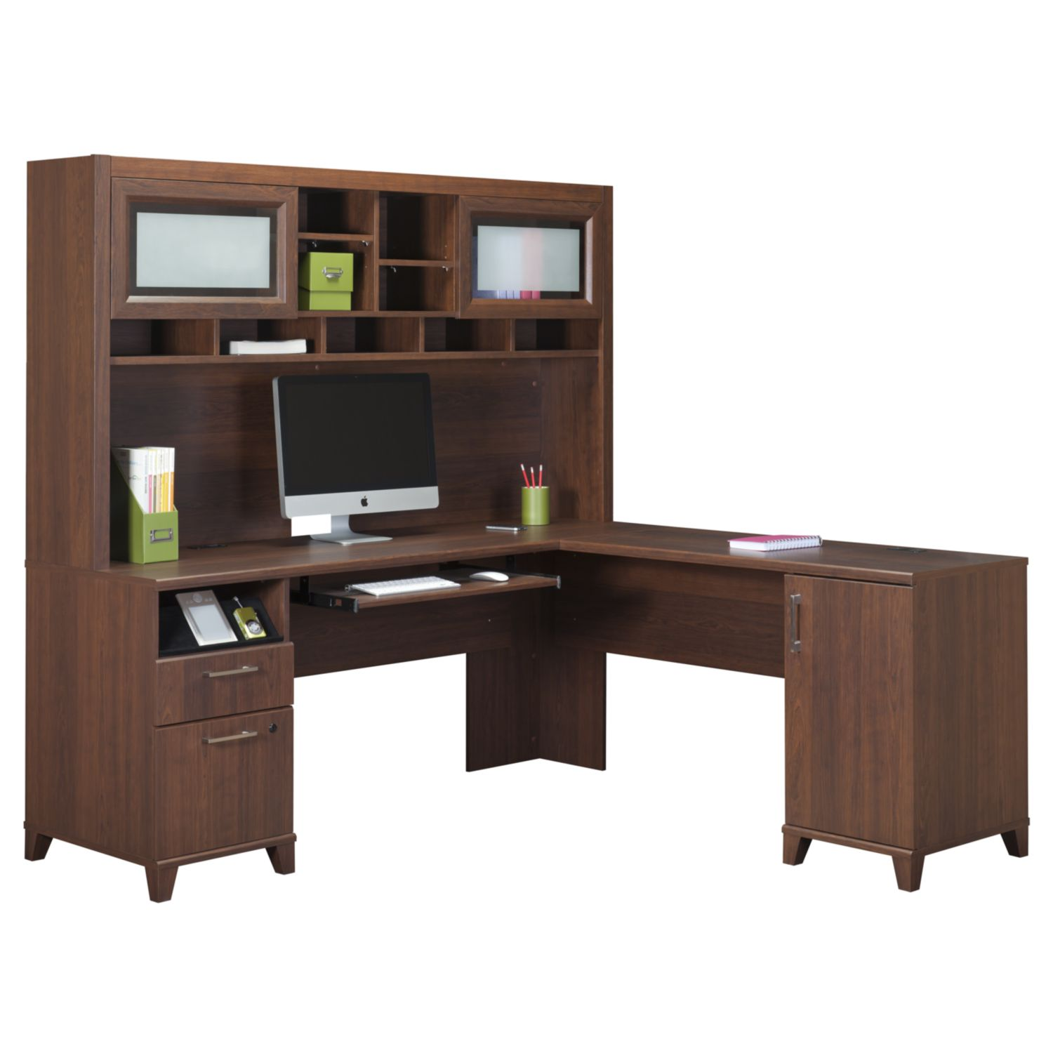 Beautiful Mainstays L Shaped Desk with hutch in brown plus computer set for home office furniture ideas