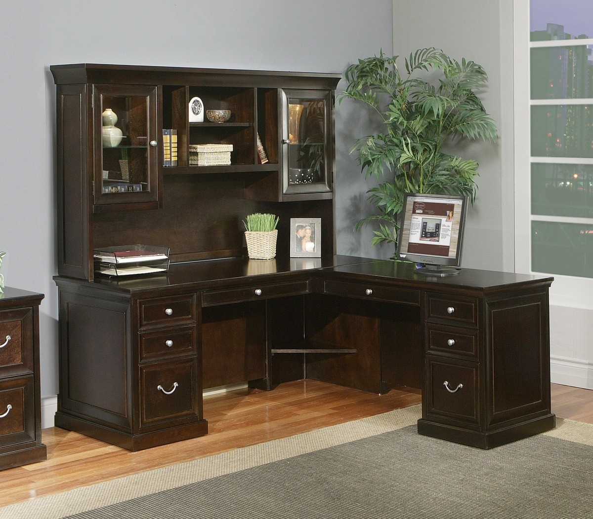 Beautiful Mainstays L Shaped Desk With Hutch Plus Storage And Computer Set In A Room With Gray Wall And Wooden Floor Plus Gray Carpet