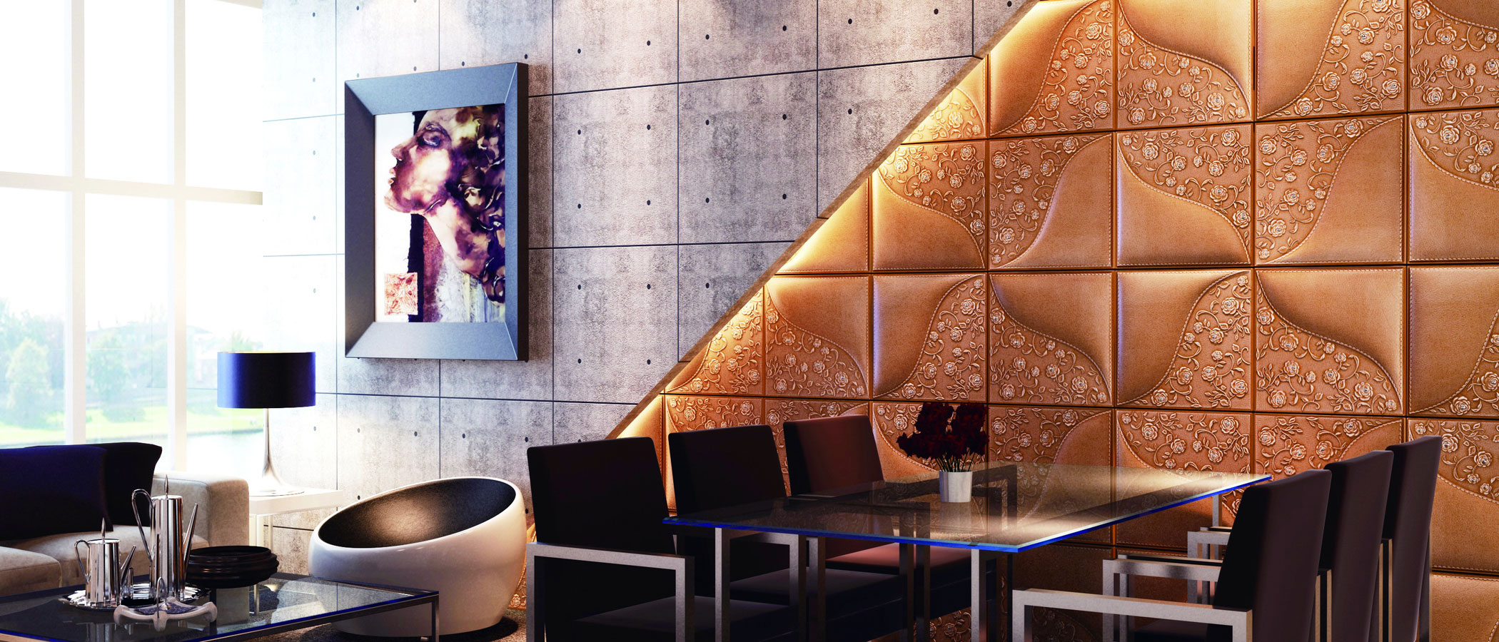 beautiful textured wall panels in gold and good lighting ideas with black armchairs and glass table