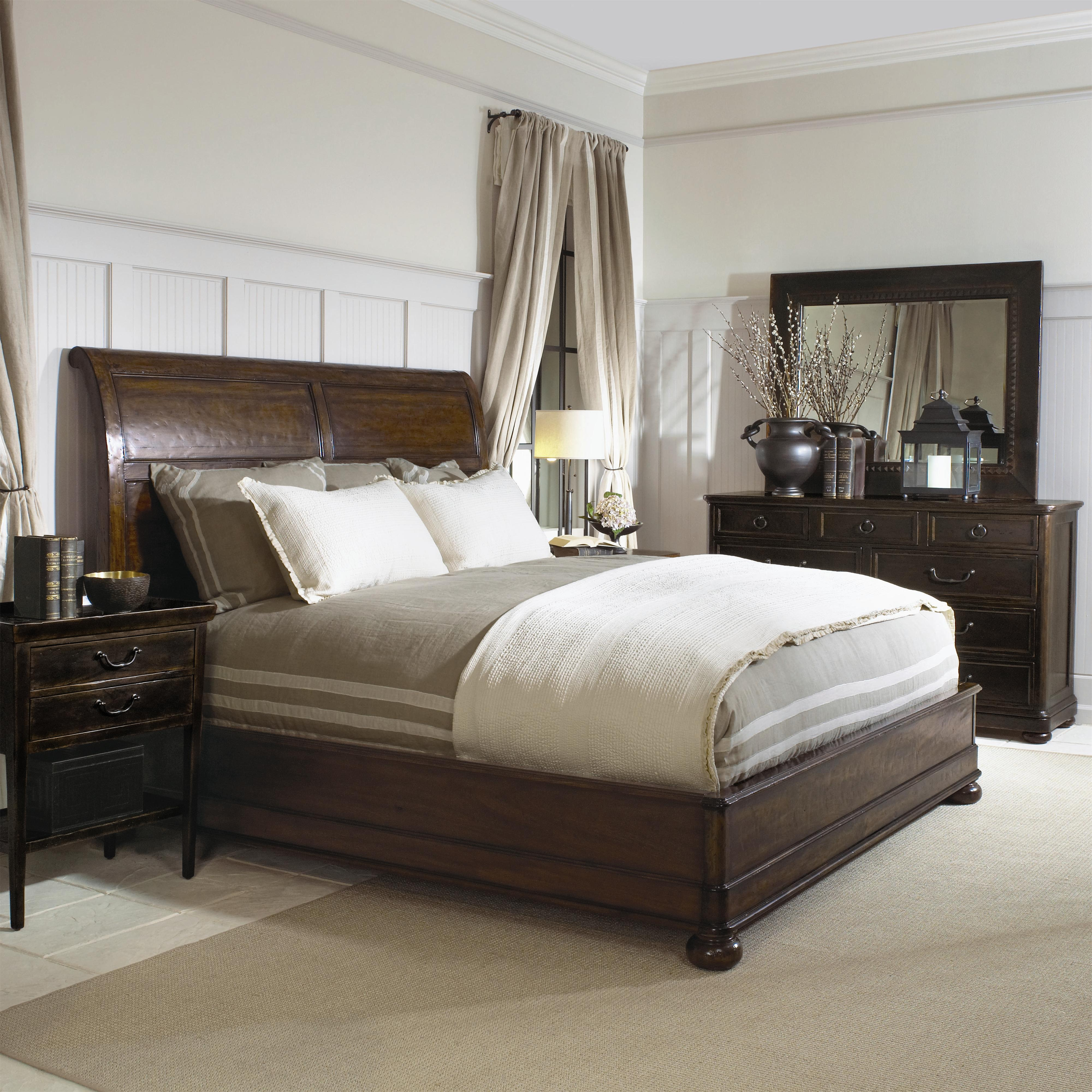 bedroom design with SPRINTZ FURNITURE with white bedding matched with white wall plus tan curtain ideas