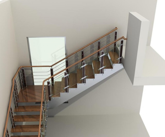 Best Handrails For Stairs In Brown With Simple Design Ideas With White Wall And Glass Picture Window