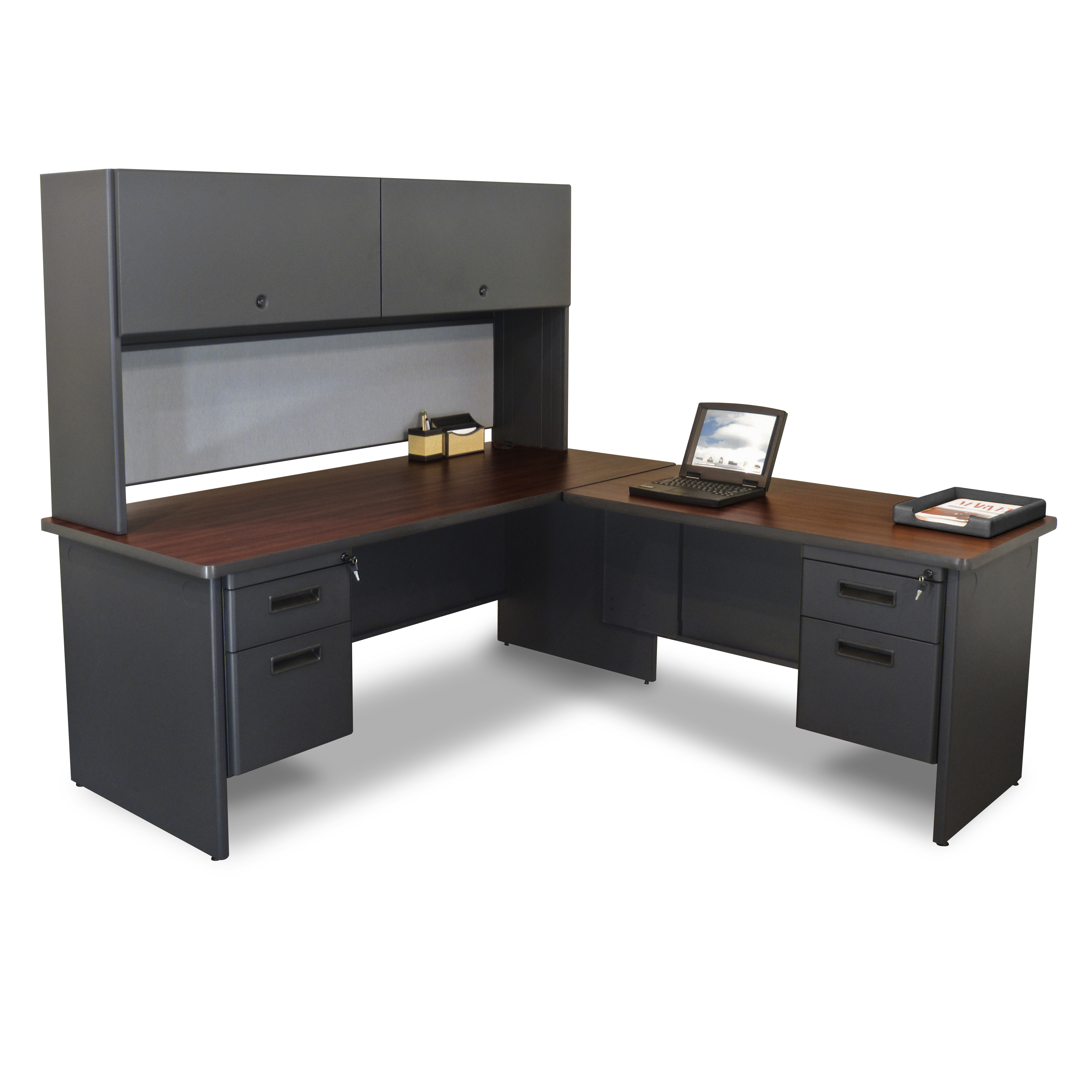 Best L Shaped Desk with hutch and storage in gray and brown color for home office furniture ideas